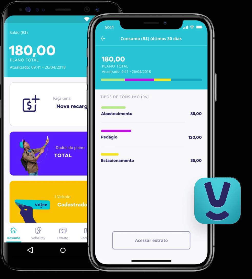 A Veloe permite acompanhar a tag pelo aplicativo — Foto: Divulgação/Veloe