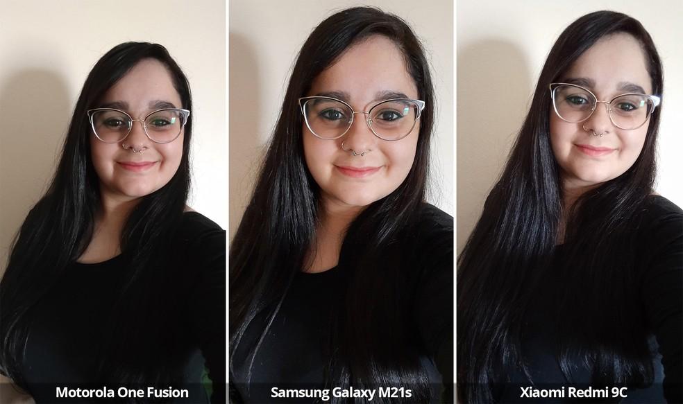 Comparativo das câmeras frontais do Motorola One Fusion, Samsung Galaxy M21s e Xiaomi Redmi 9C com luz natural em ambiente fechado — Foto: Arquivo pessoal