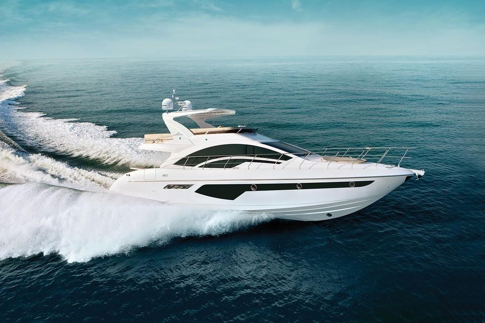 Barco Intermarine 60, mesmo modelo de embarcação de R$ 4,9 milhões declarada por candidato — Foto: Divulgação