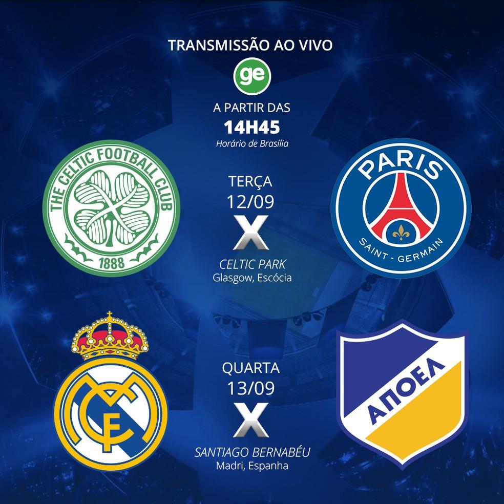 GloboEsporte.com transmite jogos da Liga dos Campeões nesta semana (Foto: GloboEsporte.com)