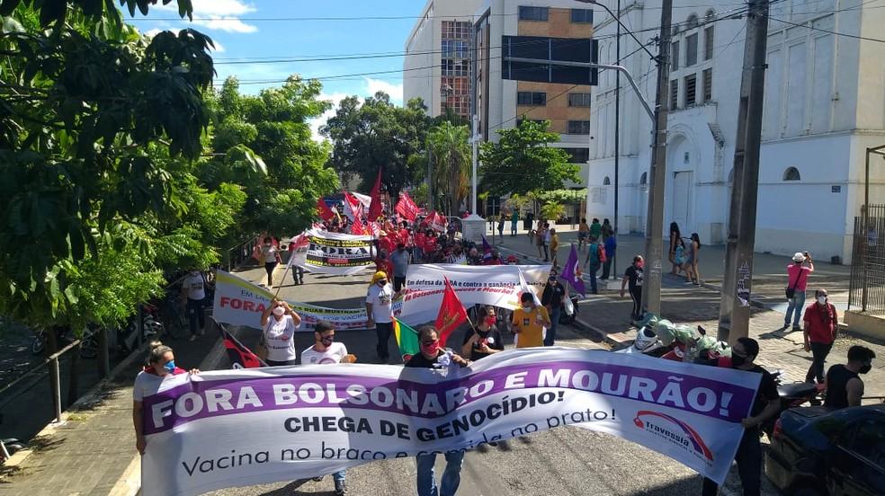 Manifestantes fazem atos pedindo impeachment de Bolsonaro e mais vacinas no Piauí — Foto: Lívia Ferreira/G1