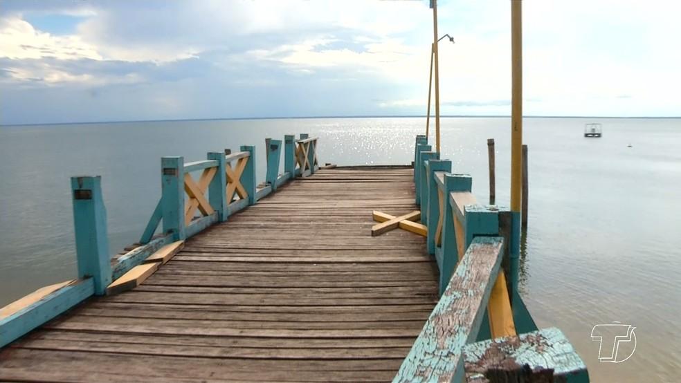 -  Passarela do Centro de Atendimento ao Turista em Alter do Chão, no Pará  Foto: Reprodução/TV Tapajós
