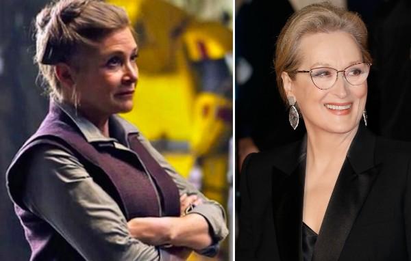 Aatriz Carrie Fisher no papel da General Leia Organa, de Star Wars, e a atriz Meryl Streep (Foto: Reprodução/Getty Images)