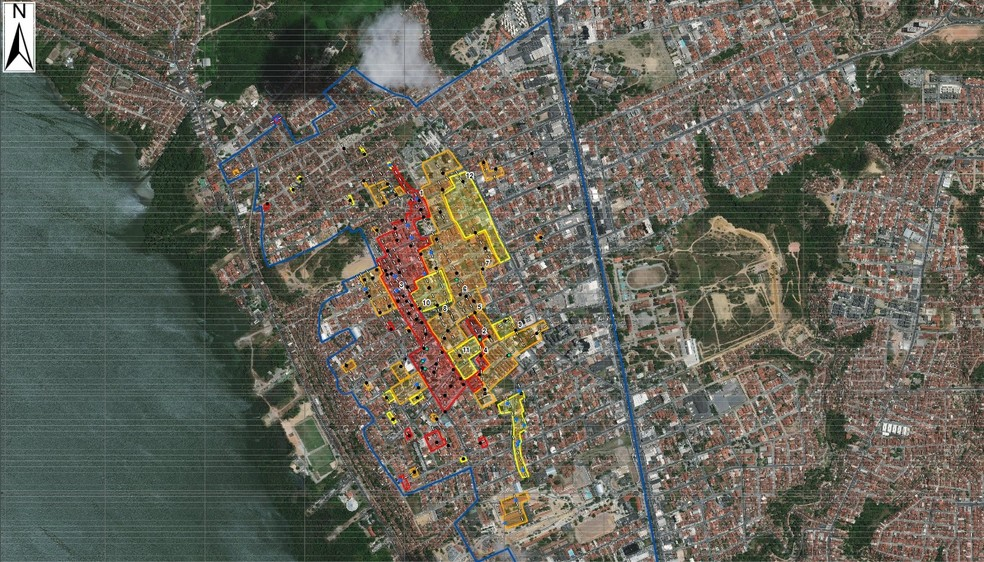 Mapa mostra as áreas afetadas pelas rachaduras no bairro do Pinheiro, em Maceió — Foto: Reprodução/Serviço Geológico do Brasil