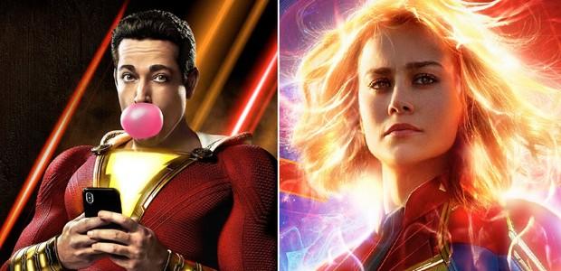 Shazam e Capitã América: personagens distintos, de estúdios rivais (Foto: reprodução)