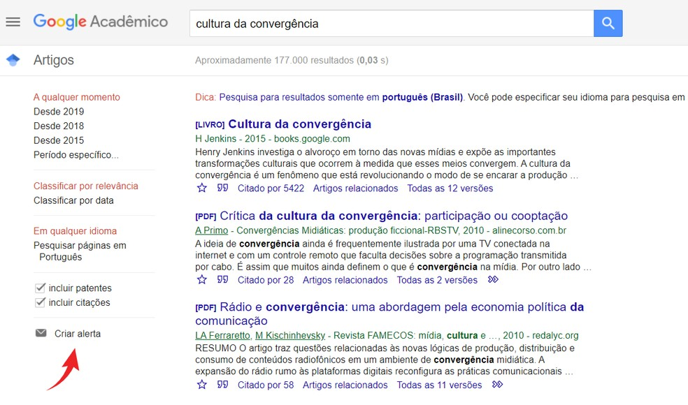 Configure alertas no Google Acadêmico — Foto: Reprodução/Ana Letícia Loubak