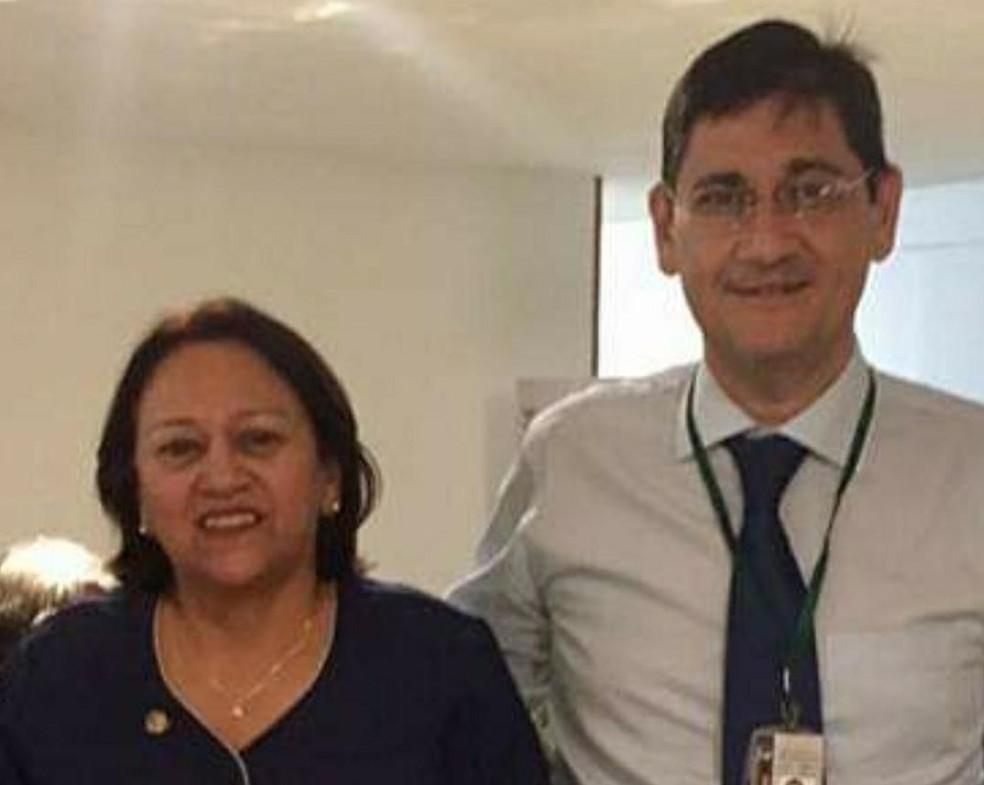 Fátima Bezerra e Pedro Lopes, que será controlador geral do estado — Foto: Divulgação