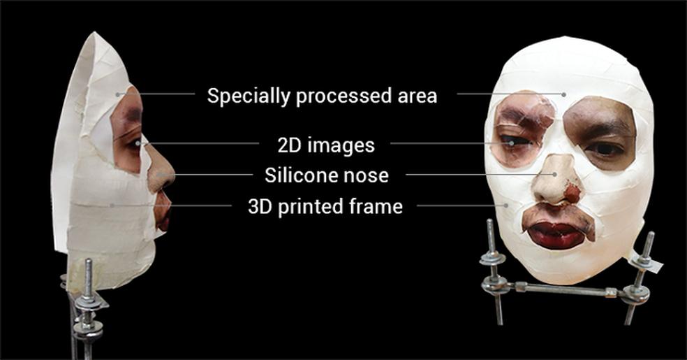 Detalhes da máscara utilizada para burlar o Face ID (Foto: Divulgação/Bkav)