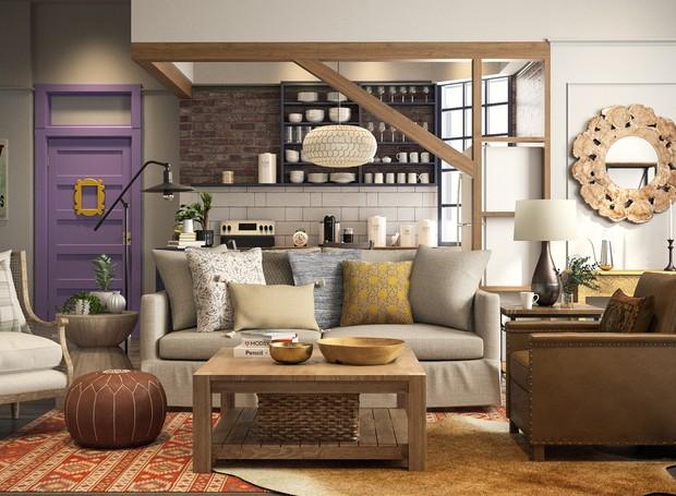 O cenário do apartamento de Mônica, da série Friends, foi atualizado para as tendências de 2018 (Foto: Modsy / Divulgação)