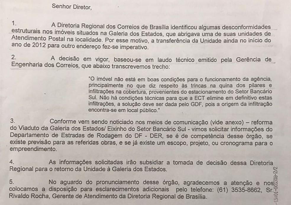 Relatório de 2013 já alertava para o risco de desabamento no viaduto do Eixão (Foto: Reprodução)