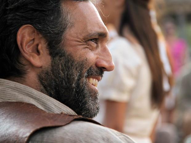 O ator Domingos Montagner como Coronel Raimundo, personagem da microssérie 'Gonzaga - De Pai para Filho', durante gravação em 2013 (Foto: João Linhares/TV Globo)
