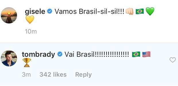 Tom Brady comenta post de Gisele Bündchen (Foto: Reprodução/Instagram)