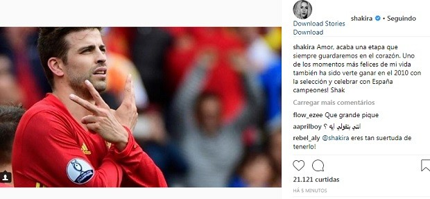 Post de Shakira (Foto: Reprodução/Instagram)