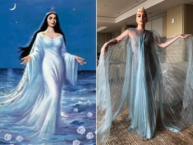 Yemanjá e Lady Gaga: estão realmente parecidas? (Foto: Reprodução/Instagram)