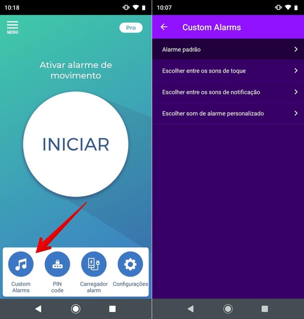 Personalizando som do alarme no app Não toque em meu telefone — Foto: Reprodução/Helito Beggiora