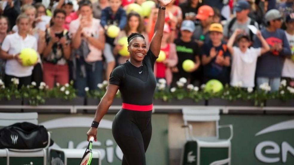 Serena Williams usou macacão por razões médicas — Foto: Getty Images via BBC