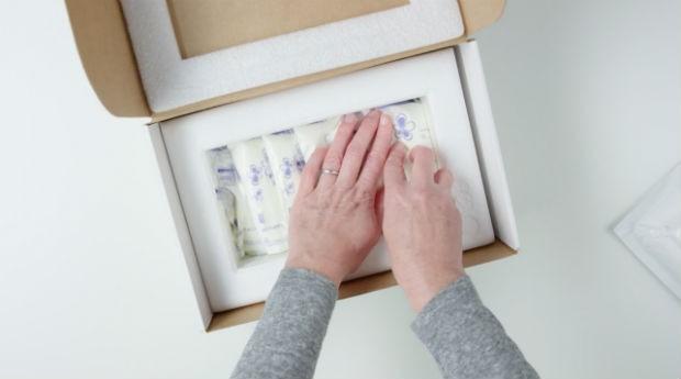O kit da Milk Stork contém uma caixa, um isopor, plásticos para armazenar o leite e bolsas térmicas (Foto: Reprodução)