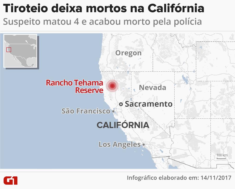 Tiroteio deixa mortos na Califórnia (Foto: Igor Estrella/G1)