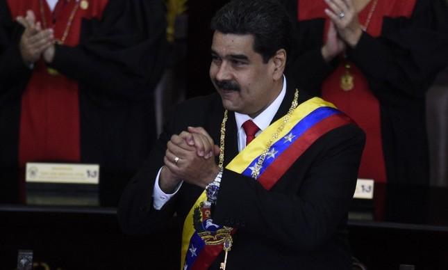 O presidente Nicolás Maduro em sua cerimônia de posse de seu contestado segundo mandato