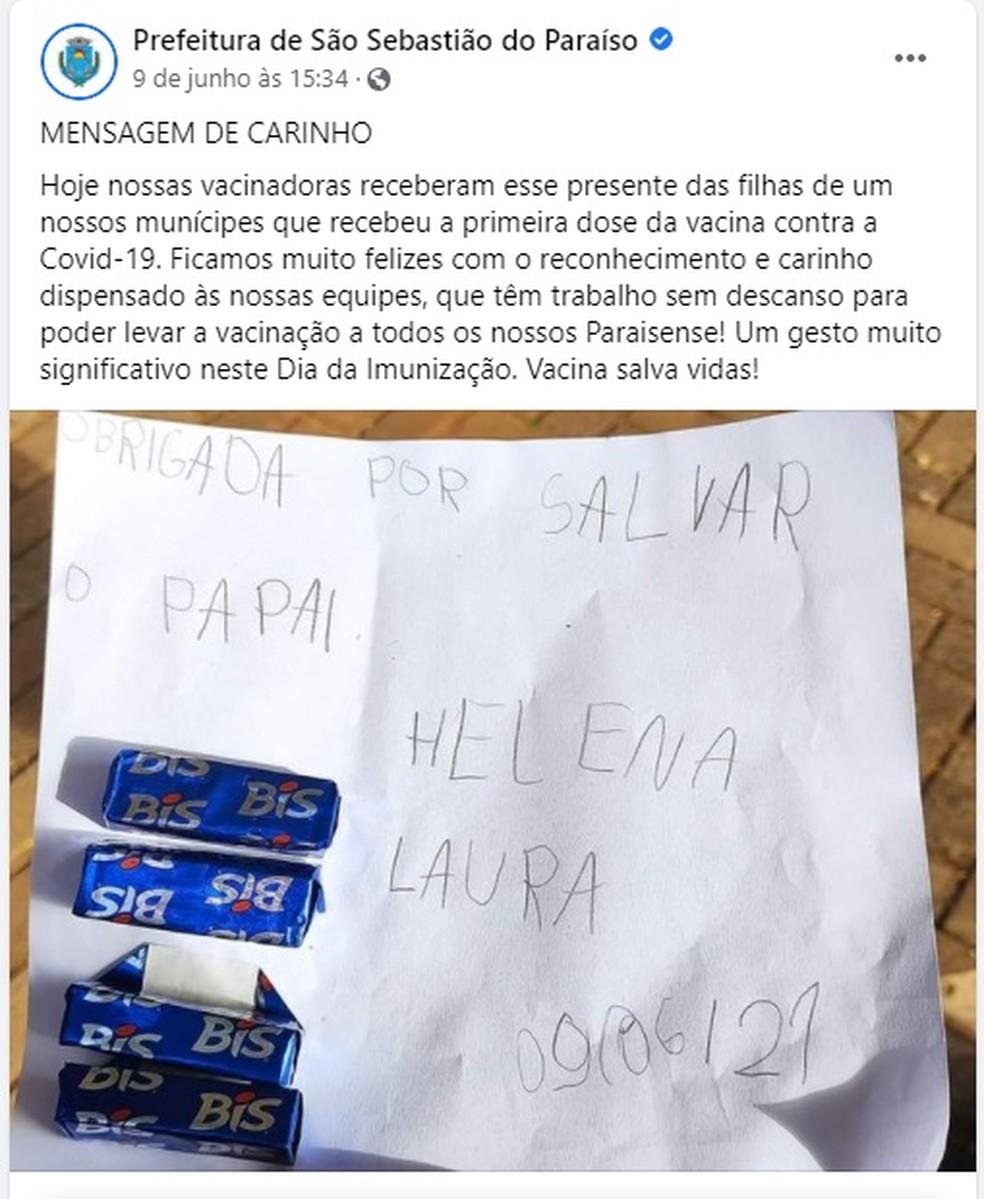 Crianças agradecem enfermeiras após pai ser vacinado contra Covid-19 em MG: 'Obrigada por salvar o papai' — Foto: Prefeitura de São Sebastião do Paraíso