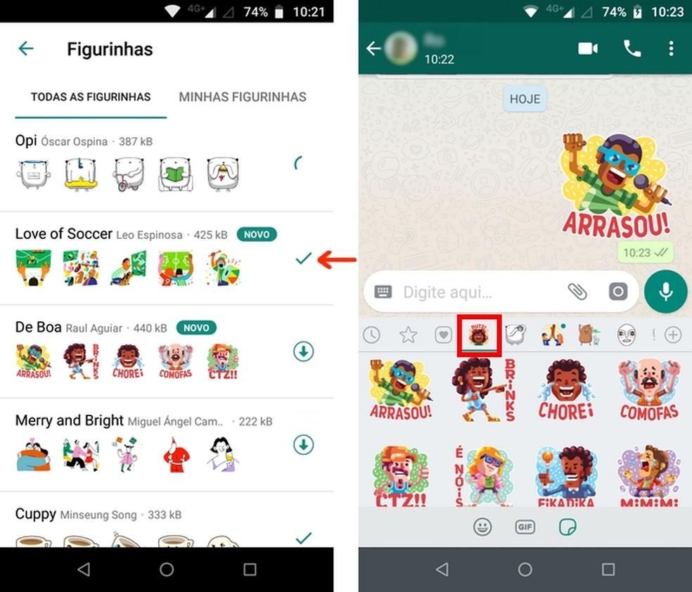 """Envio de figurinha do pacote """"De boa"""", lançado pelo WhatsApp exclusivamente para usuários brasileiros — Foto: Reprodução/Raquel Freire"""