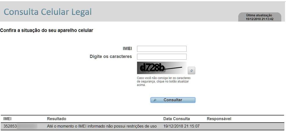 Em site da Anatel, consumidor pode verificar se IMEI do aparelho possui alguma restrição de uso. Para descobrir o e-mail, disque *#06# no aparelho. — Foto: Reprodução/G1