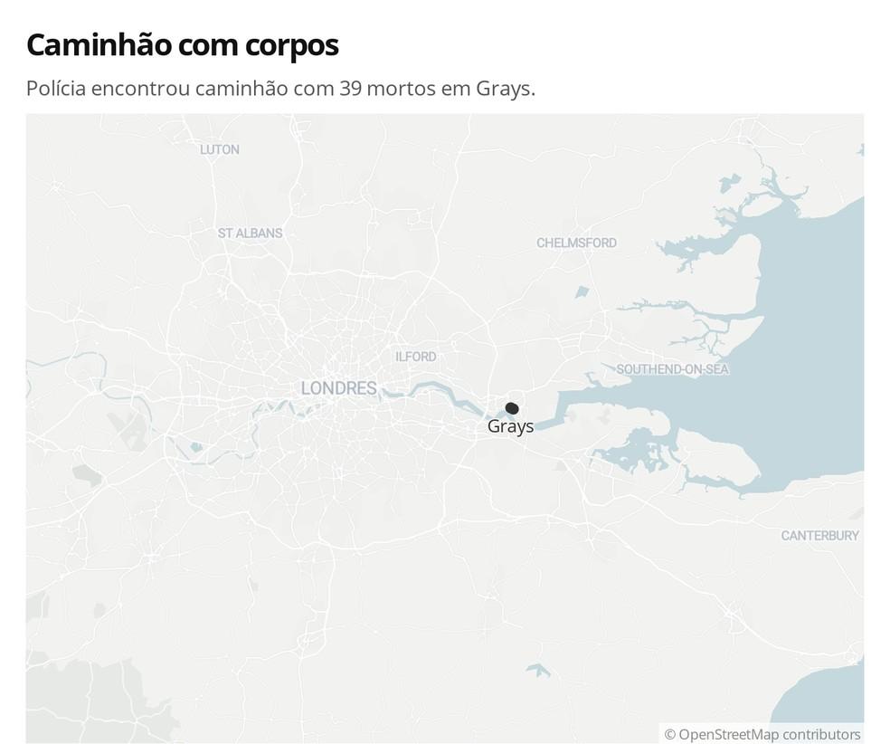 Mapa mostra onde foi encontrado caminhão com corpos no Reino Unido — Foto: G1