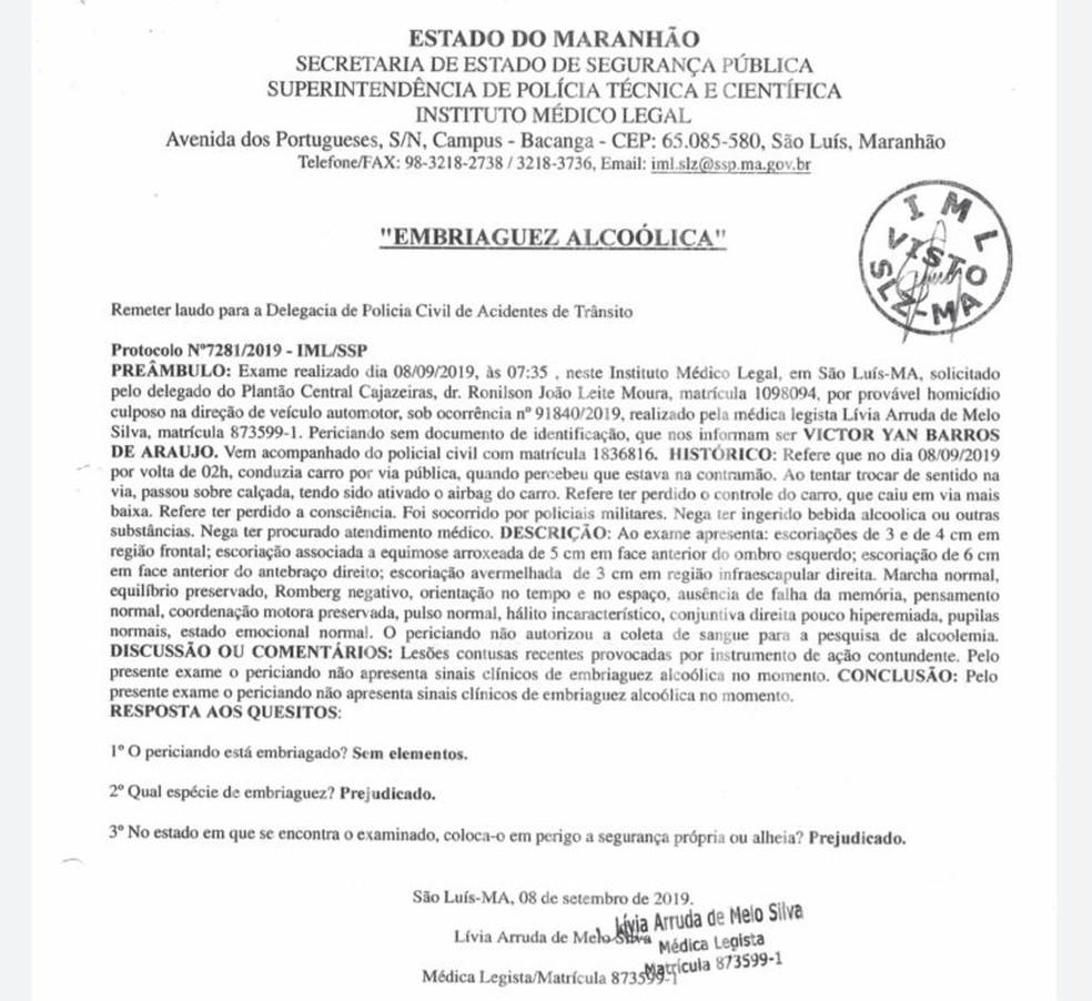 Laudo do Instituto Médico Legal aponta que Victor Yan Barros de Araújo não estava embriagado no momento do acidente. — Foto: Divulgação/Polícia Civil