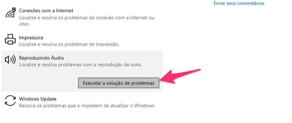 Ação para iniciar a ferramenta que identifica problemas com o áudio no Windows — Foto: Reprodução/Marvin Costa