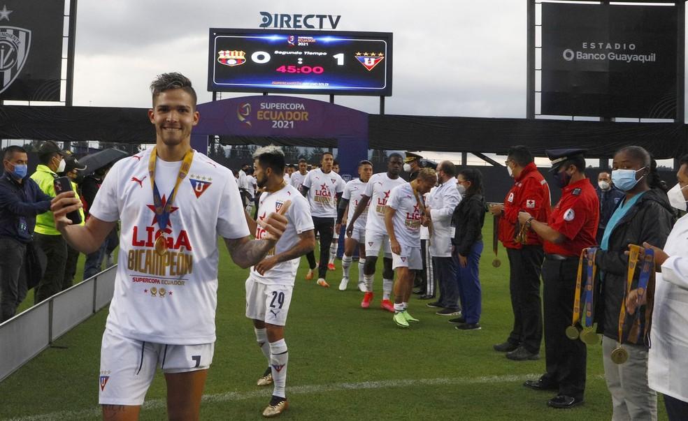 LDU foi campeã da Supercopa do Equador — Foto: Divulgação/LDU