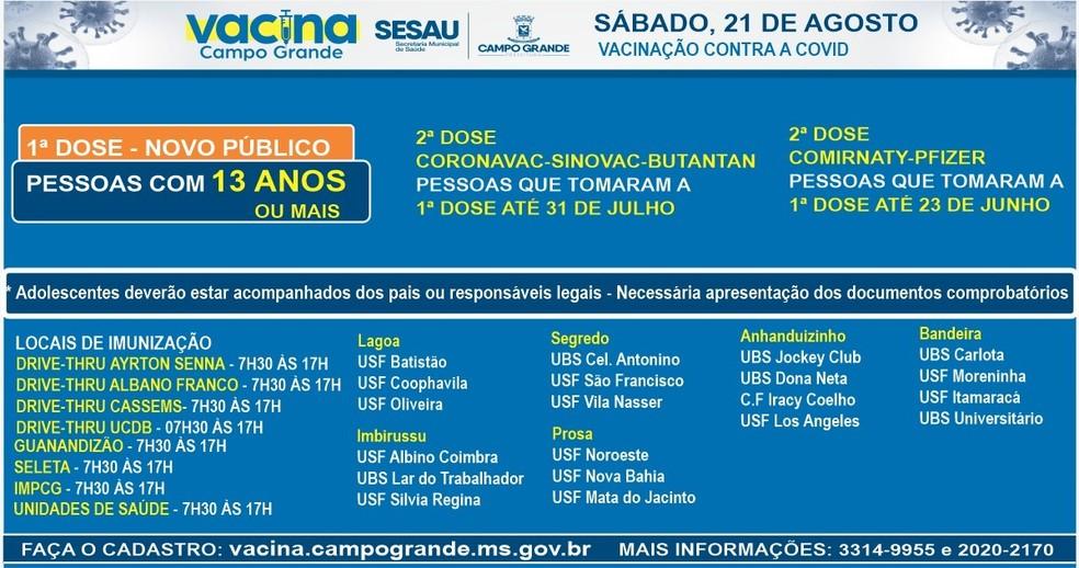 Pontos de vacinação, em Campo Grande, neste sábado (21). — Foto: PMCG/Reprodução