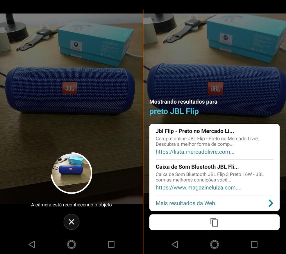Função de reconhecimento de objetos de Moto X4 reconheceu marca da caixa de som (Foto: Thássius Veloso / TechTudo)
