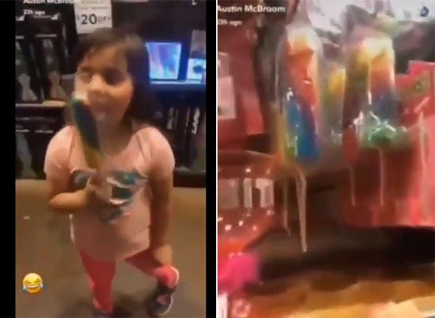 O casal deu à menina um pirulito com formato de pênis (Foto: Reprodução/Twitter)