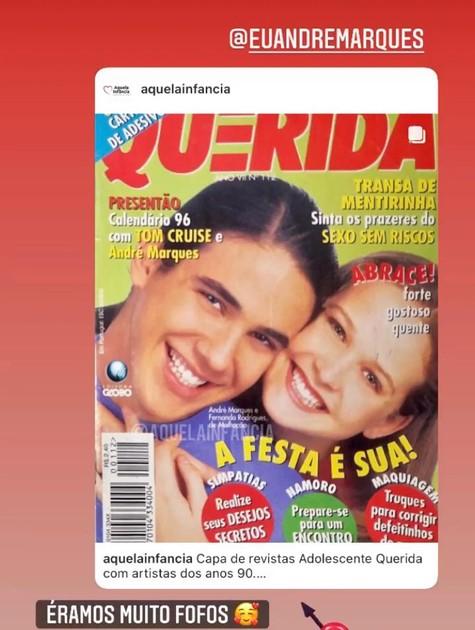 Fernanda Rodrigues postou a capa de uma revista em que aparece com André Marques (Foto: Reprodução/Instagram)
