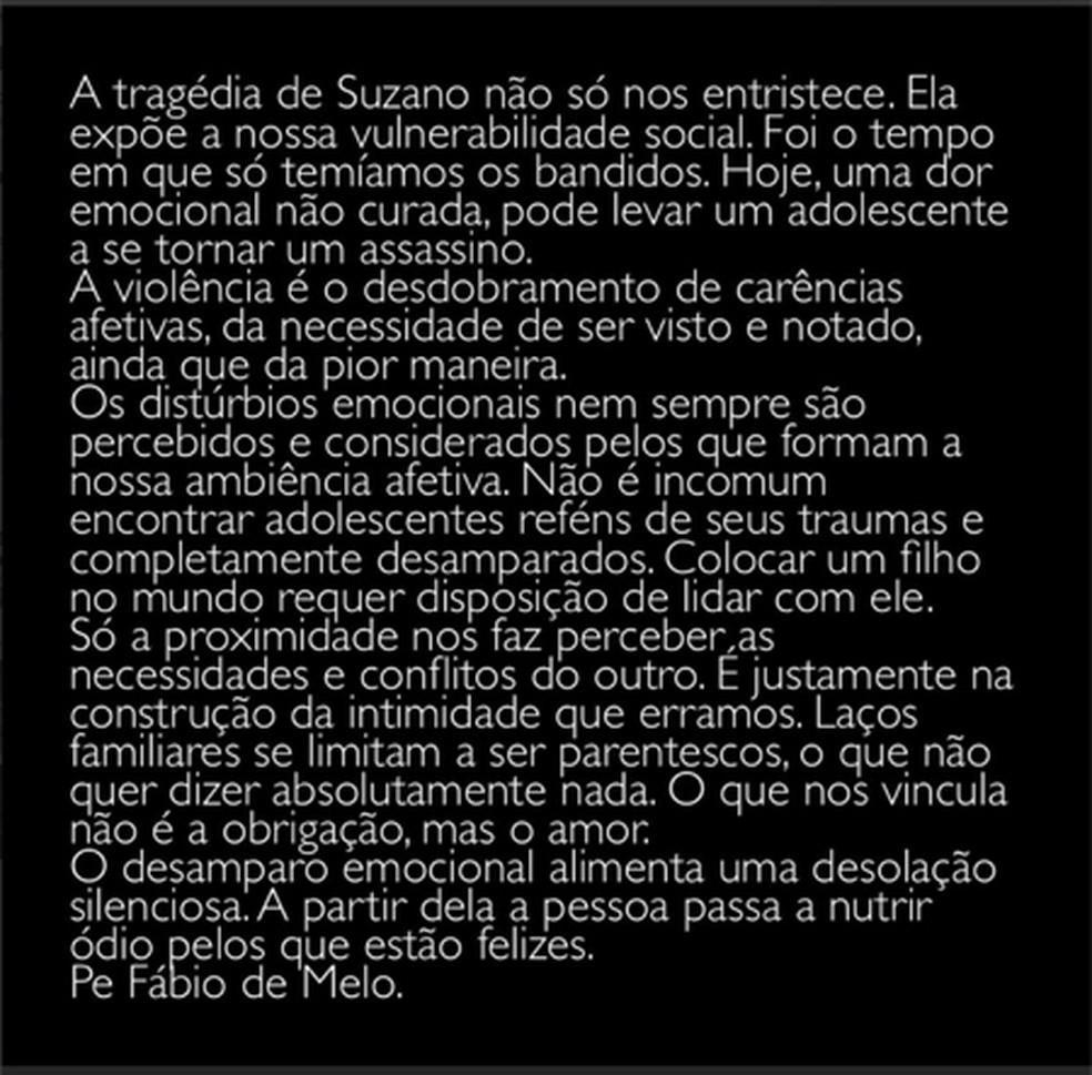 Texto escrito pelo padre Fábio de Melo a respeito do massacre em Suzano — Foto: Reprodução/ Twitter