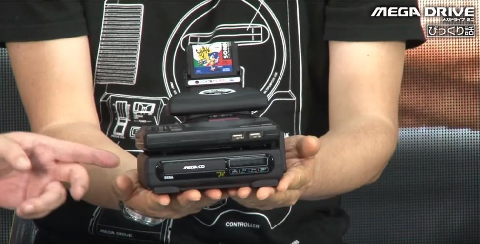 Mega Drive Tower Mini une os periféricos lançados nos anos 90 pela Sega — Foto: Reprodução/YouTube