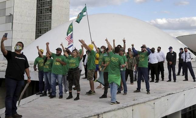 Apoiadores do presidente Jair Bolsonaro durante manifestação