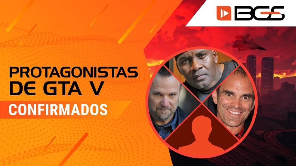 Atores e dubladores que interpretam protagonistas de GTA V estarão na BGS 2019 — Foto: Divulgação/Brasil Game Show