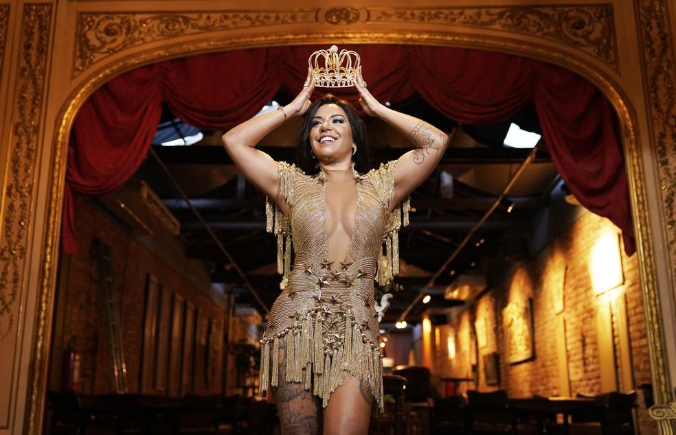 Giovana Angélica estreia em 2020 como rainha de bateria da Mocidade — Foto: Marcos Serra Lima/G1