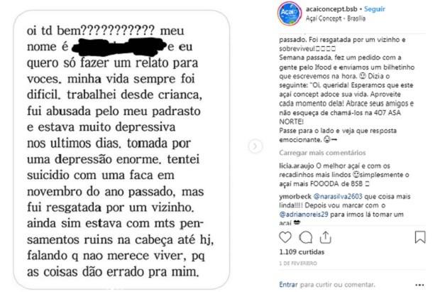 Mensagem recebida pela Açaí Concept (Foto: Reprodução/Instagram)