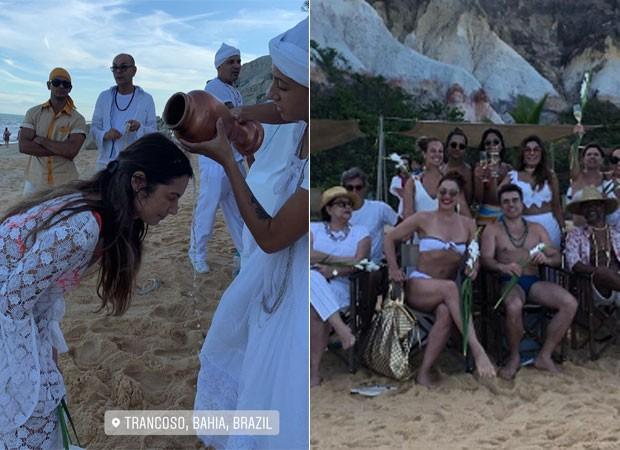 Patrícia Poeta recebe bênção da Iemanjá em cerimônia com presença de Claudia Raia e marido  (Foto: Reprodução)