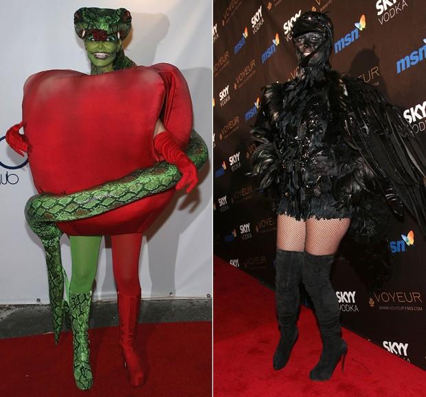 Em 2006, Heidi surpreendeu como a maçã do eden do pecado original. Em 2009, Heidi Klum recebeu os convidados como mulher urubu (Foto: Getty Images)
