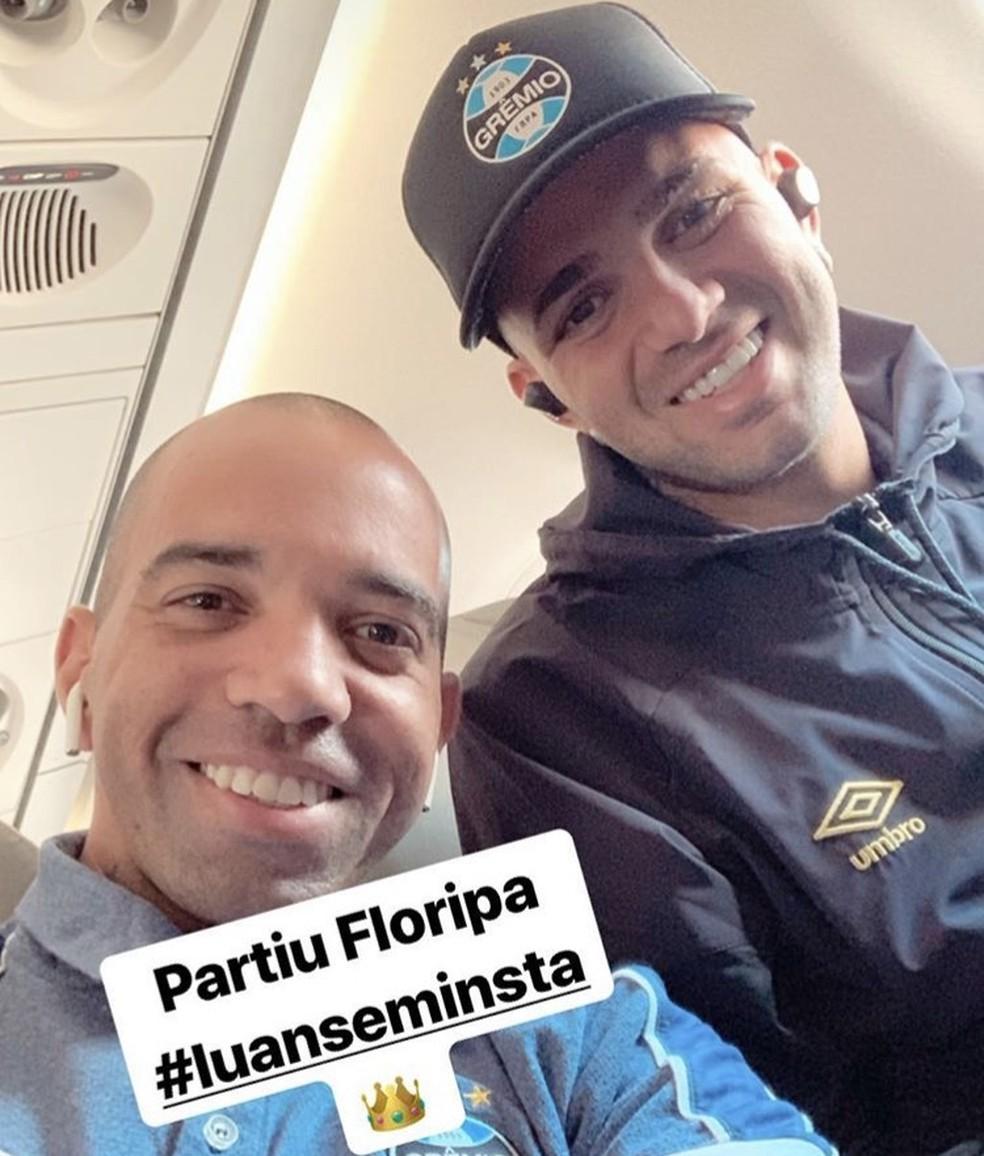 Diego Tardelli posta foto com Luan antes de jogo do Grêmio — Foto: Reprodução/Instagram