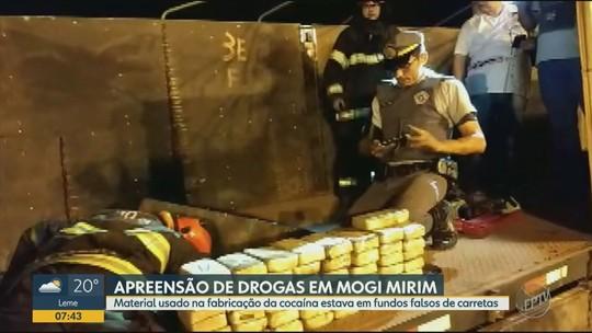 Polícia Rodoviária apreende 223 tabletes de droga escondidos em carreta na SP-340, em Mogi Mirim; dois presos