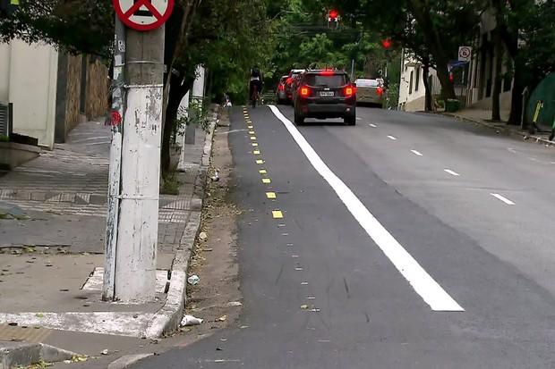 A nova ciclofaixa (Foto: Reprodução / TV Globo)