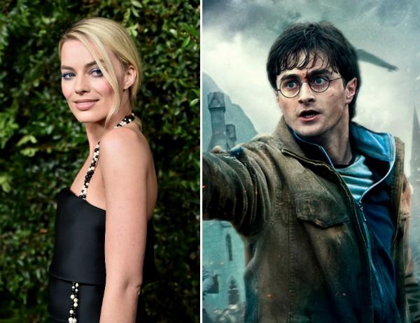 A atriz Margot Robbie e o ator Daniel Radcliffe no papel do bruxo Harry Potter (Foto: Getty Images/Reprodução)