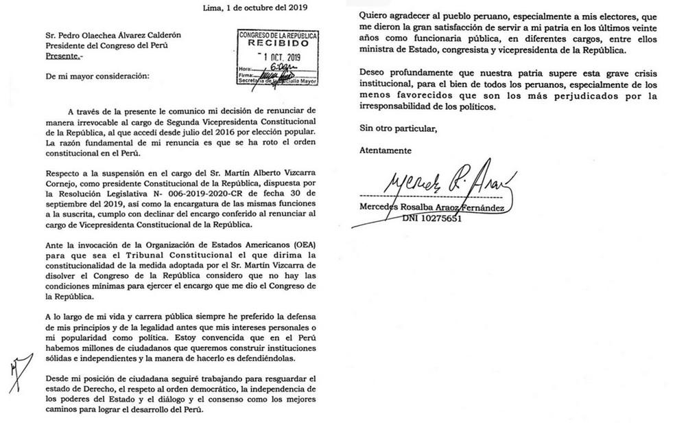 Carta de Mercedes Aráoz explica renúncia — Foto: Reprodução / Twitter / Mercedes Aráoz