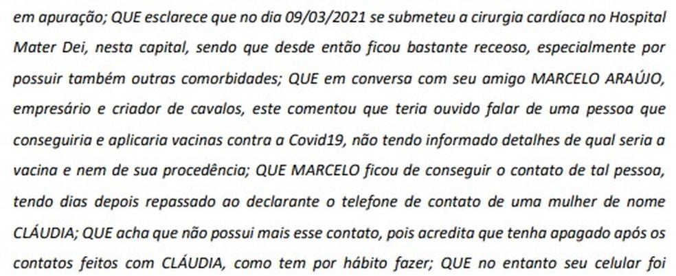 Trecho do depoimento de Rômulo Lessa, no qual aponta como conseguiu contato com Cláudia — Foto: Reprodução