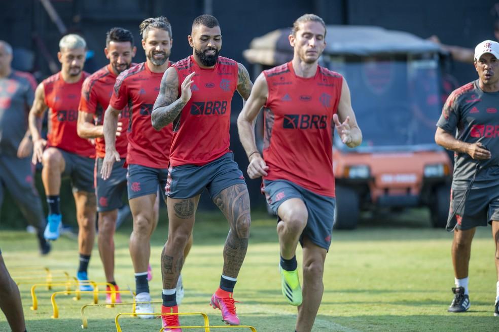 Treino físico do Flamengo durante a pré-temporada — Foto: Marcelo Cortes/Flamengo