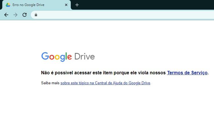 Aviso de conteúdo excluído pelo Google Drive